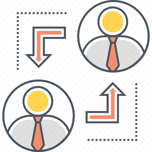 career advancement, job rotation, job transfer, work shifts icon