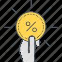 commission, affiliate, coin, percent, percentage, prize, reward icon