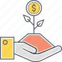 growing income, growing money, growing profit, growing revenue, income growth, money growth, money tree icon