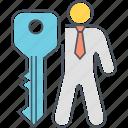 key, key employee, key person, key personnel, person icon