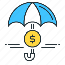 funds protection, income protection, insurance, protection, umbrella icon