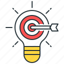 idea, innovation, light bulb, marketing idea, target icon