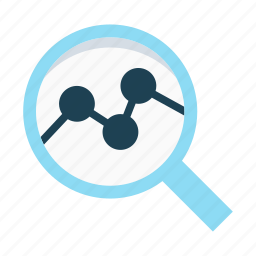 analysis, chart, data, graph, magnifier, research, summary icon