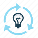 arrows, efficiency, ideation, interaction, light bulb, management, productivity icon