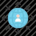 arrow, communication, globe, human, network, people icon