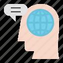 communication, globe, mind, network, people, talk icon