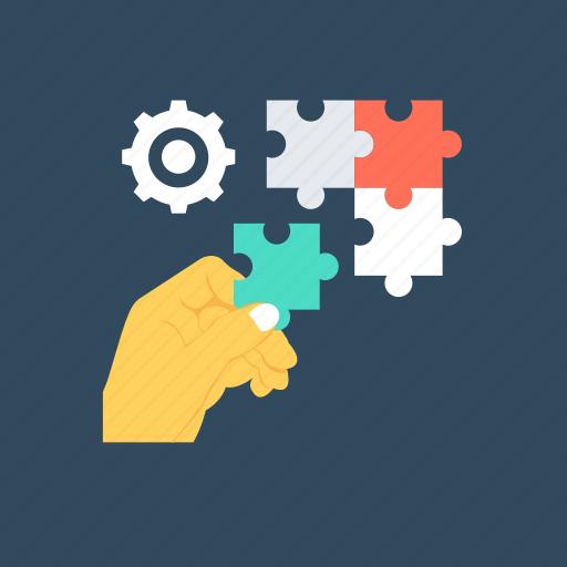 business, cogwheel, gear, jigsaw, solution icon