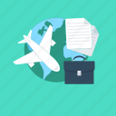 airplane, business tour, business travel, luggage, plane icon