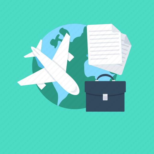 airplane, business tour, business travel, luggage, plane icon