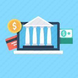banking, commerce, dollar, internet banking, online banking icon