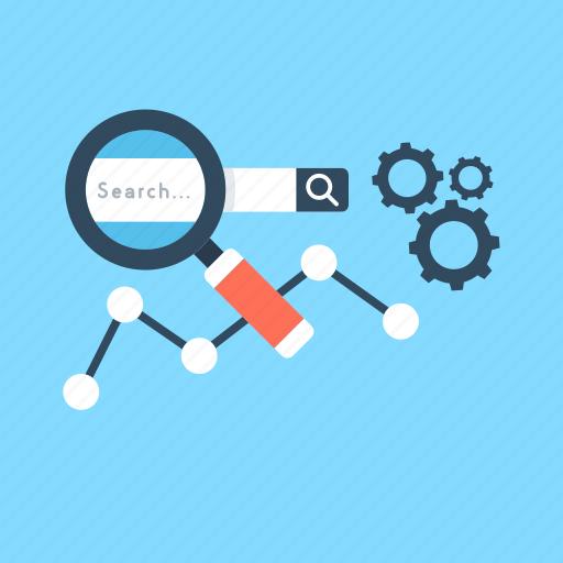 graph, magnifier, optimization, search engine, seo icon