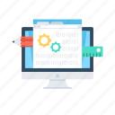app development, cogwheel, designing, monitor, web design