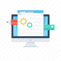 app development, cogwheel, designing, monitor, web design icon