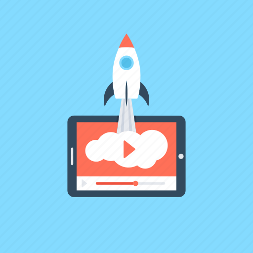 media player, rocket, video launch, video marketing, video player icon