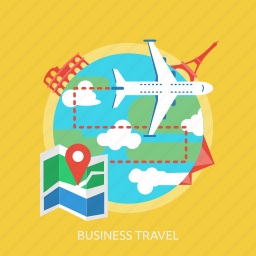 business, earth, map, plane, tower, transportation, travel icon