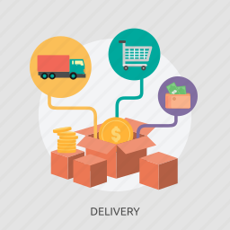 box, business, delivery, money, shop, truck icon