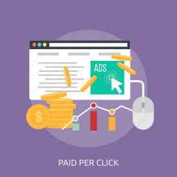 chart, money, mouse, online, paid per click, web, website icon