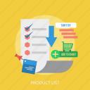 chart, check, data, list, product, shop