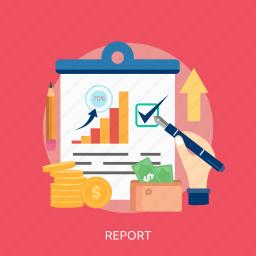 chart, check, money, pencil, purse, report, success icon