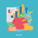 chart, money, paper, purse, saving, up icon