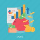chart, money, paper, purse, saving, up icon