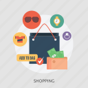 bag, diamond, glasses, money, shopping, success, time icon