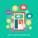click, like, marketing, money, online, phone, social media icon