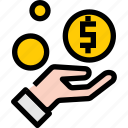 coin, hand, receive, save icon