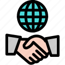 global, hand, handshake