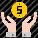 coin, hand, saving icon
