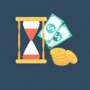 business, entrepreneurship, hourglass, investment, money icon