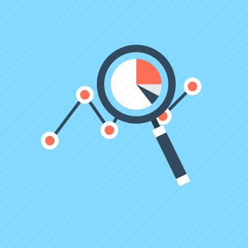 analysis graph, analytics, data analytics, graph, magnifying icon