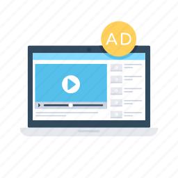 advertisement, marketing, online advert, video blog, video marketing icon