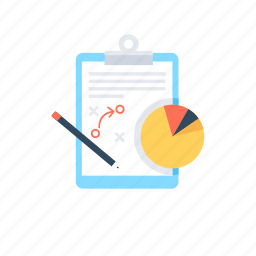 business, business strategy, clipboard, pie graph, seo strategy icon