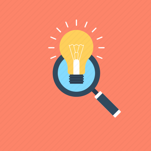 bulb, creativity, idea, magnifying, solution icon