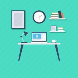 online work, studio, work desk, work studio, workstation icon