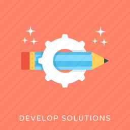 creativity, develop solutions, development, gear, pencil icon