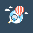 delivery balloon, discover, hot air balloon, magnifying, worldwide