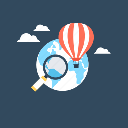 delivery balloon, discover, hot air balloon, magnifying, worldwide icon