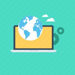 customize, development, gear, laptop, worldwide icon