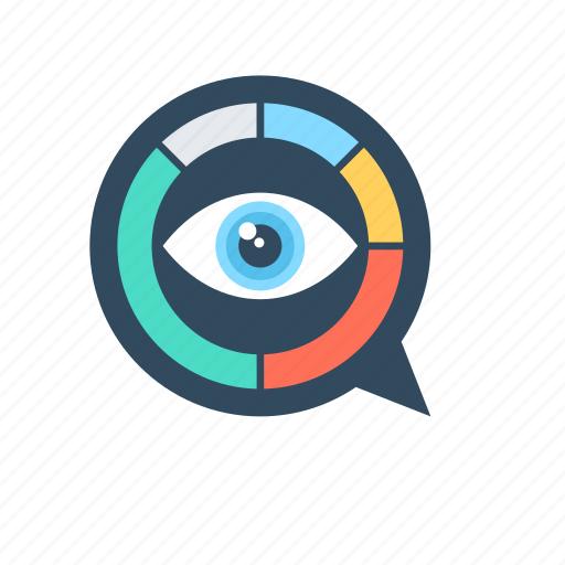 data visualisation, eye, graph, pie graph, visualization icon