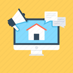 advert, agency, home, online property, real estate market icon