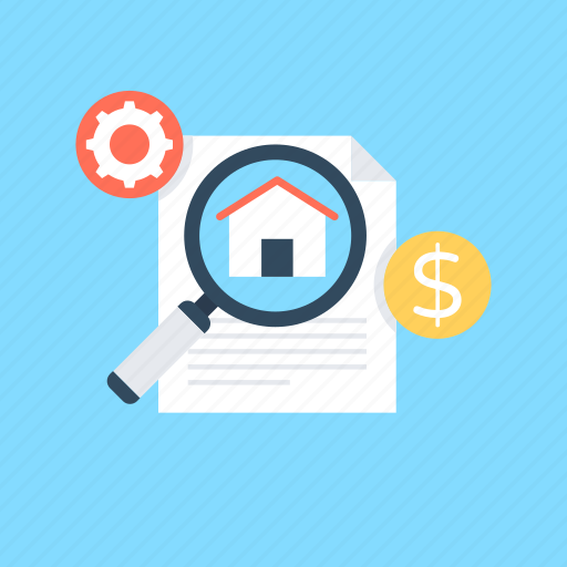house search, magnifying glass, property search, real estate, search apartments icon