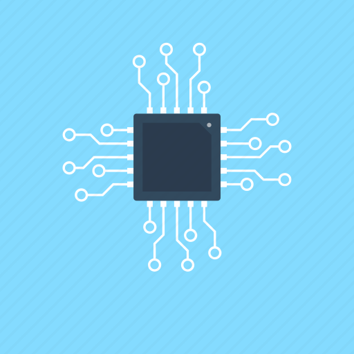 computer chip, electronics, integrated circuit, memory chip, processor chip icon