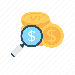 investment, investment research, magnifying, profit, savings icon