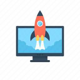 launch, missile, monitor, rocket, startup icon