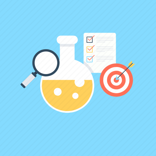 flask, magnifying, market research, research, target icon