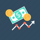 business growth, earning, earning growth, growth graph, profit icon