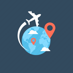 airplane, business travel, location, world map icon