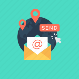 email, envelop, international, map pins, newsletter icon